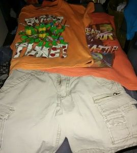 2 Ninja Turtle T Shirts With 1 Pair Cargo Shorts